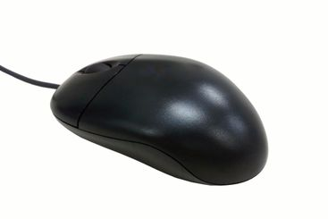 The black PC mouse with white background