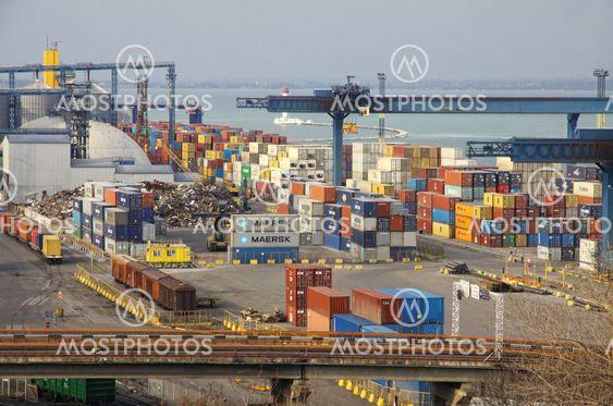 Industrial landscape of Odesa seaport, Ukraine