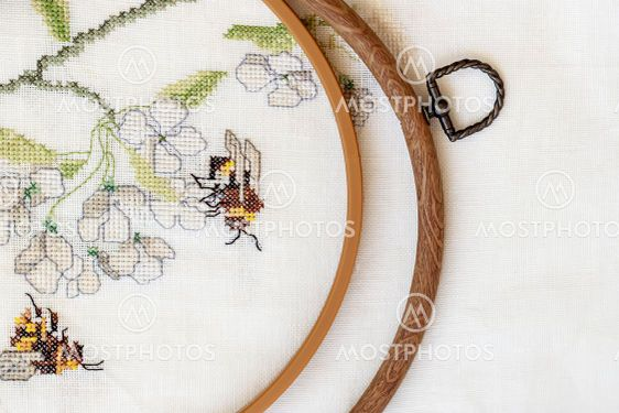 Wooden embroidery hoop with fragment of a colorful...