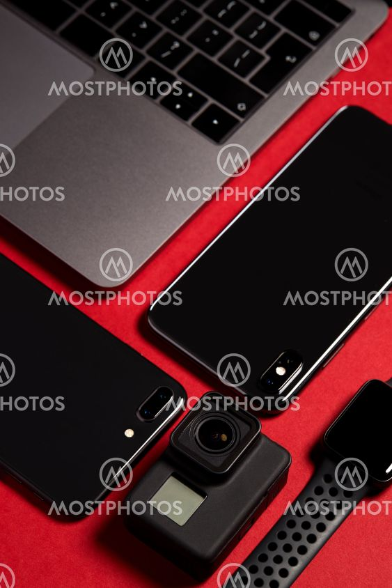 Flat Lay Shot Of Techno Items For Modern Worker With...
