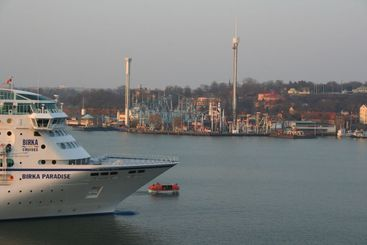 Cruise ship with life boat in front