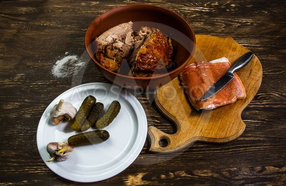 Still Life With grilled meat of turkey and salt salmon...