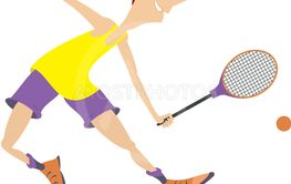 Young man playing tennis isolated illustration