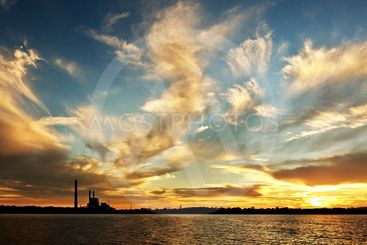 Colorful Lake Sunset over Vales Point power station.