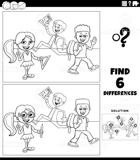 differences game with elementary age kids coloring book...