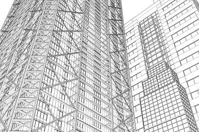 Skyscraper rendering in lines