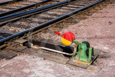 Järnvägens delar: Växelklot med spår i bakgrunden