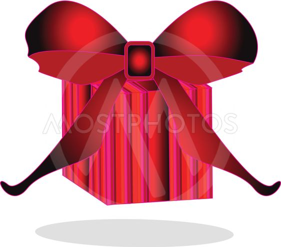 Red lined gift box with gradient ribbon isolated on white.