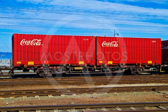 Coca Cola containers by rail
