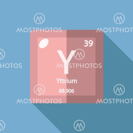 Chemical Element Yttrium Flat By Yuriy Borisov Mostphotos