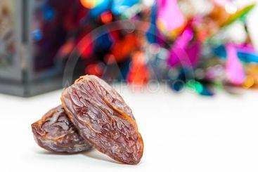 Two date fruits.Ramadan Eid concept