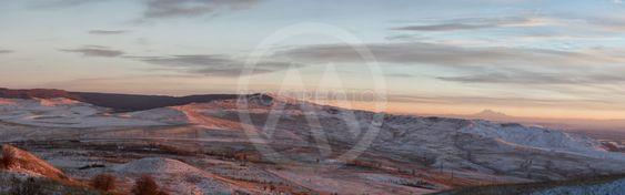 Panorama of winter mountains in Caucasus region