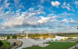 Kalemegdan and Victor in the morning sun. A great...
