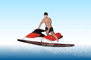 Handsome tanned young man on a jet ski