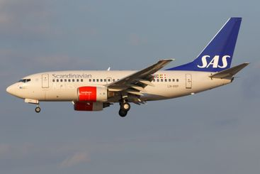 SAS Boeing 737-600 airplane at Hamburg airport