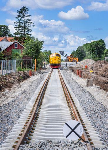 Banarbete på en järnväg i Skåne