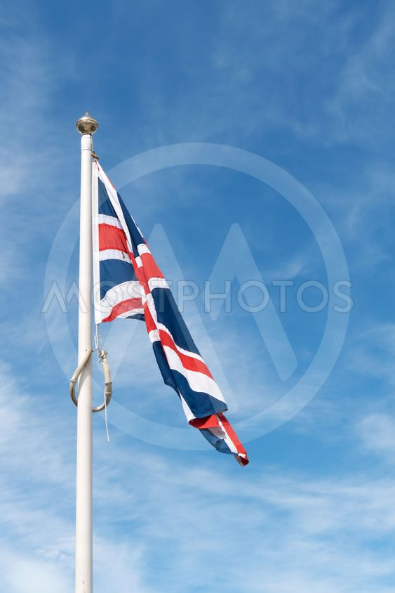 Limp Union Jack flag of the United Kingdom