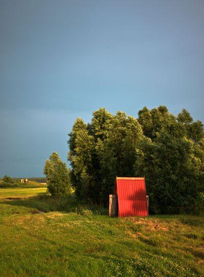 wooden cabin on meadow