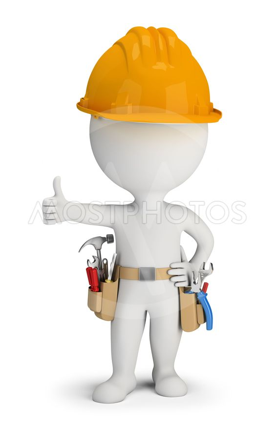 3d small people - repairman with tool belt