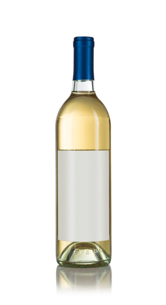 Wine Bottle with Light Colored Wine and Blank Wine Label