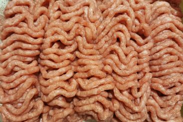 Top view of fresh raw minced turkey meat