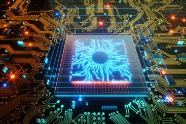 3D render CPU Technological background. Concept circuit...