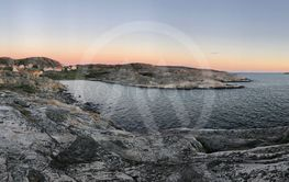 Panorama view over the sea and a village in Bohuslän,...