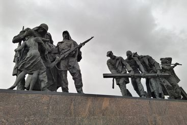 Monument at the Victory Square in St Petersburg, Russia