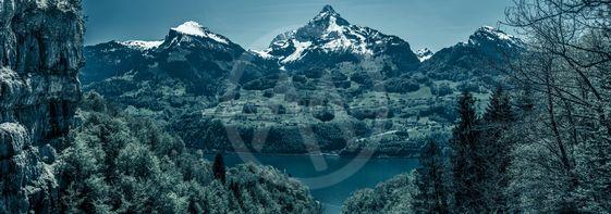 Gloomy panorama with the Swiss Alps peaks