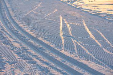 Nordic skiing tracks in beautiful winter morning