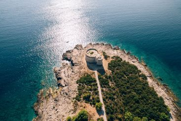 The ancient fort Arza at the entrance to the Bay of...