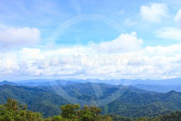 Views of the valley to the high peaks of 1200 meters in...