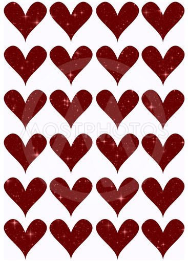 Decorative template with hearts