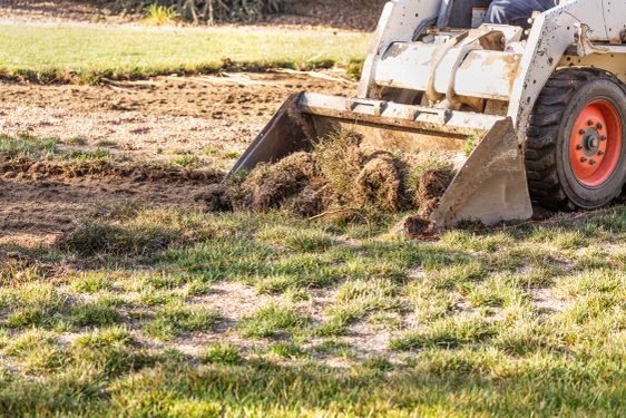 Small Bulldozer Removing Grass From Yard Preparing For...