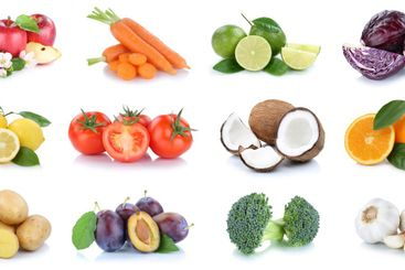 Fruits and vegetables collection apples oranges coconut...
