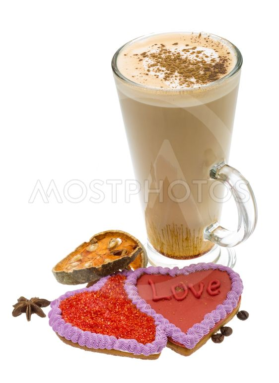 Coffee with valentine pastry