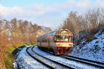 Beautiful Czech passenger train with carriages.