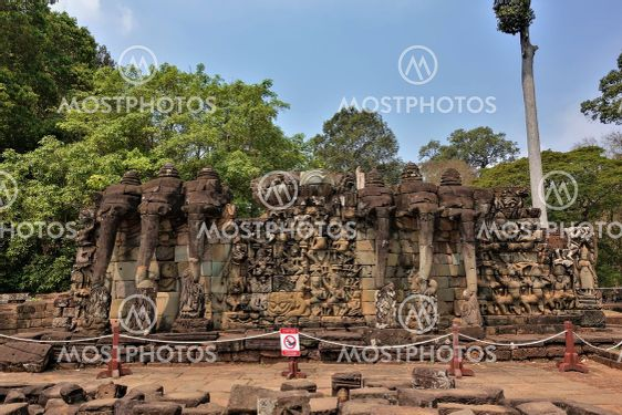 The famous elephant terrace in ancient Angkor