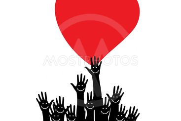 Silhouette hands. Many hands reaching for heart vector.