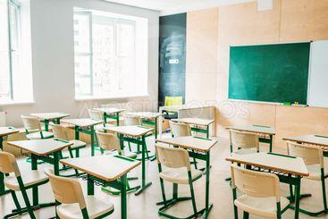 interior of empty modern classroom at school