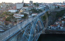 Bird's-eye view of Dom Luis I bridge and Douro river.