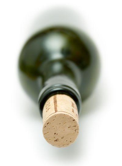 Corked Green Wine Bottle