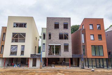 Modern Dutch mansion houses under constrcution