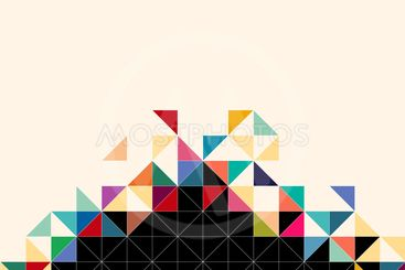 Abstract, geometric background, triangle and square, black