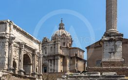 Panorama of Roman Forum in city of Rome