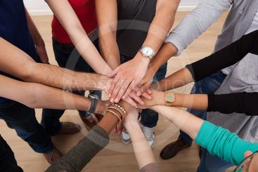 Multiethnic College Students Stacking Hands