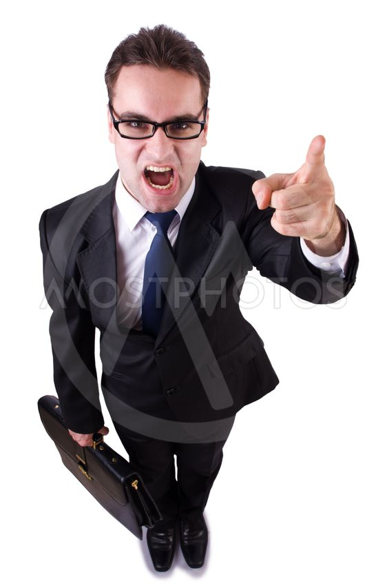 Young funny businessman on white background