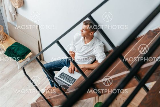 young designer works in a home Studio.