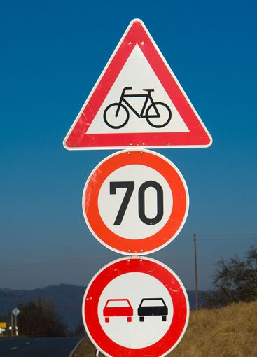 Traffic signs cyclists, 70, passing prohibited