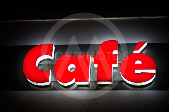 Neon sign at a cafe
